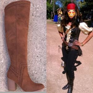 👻 Halloween Costume Tall Brown Black Heel Boots Boutique